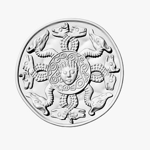 3D coin medusa gorgon model