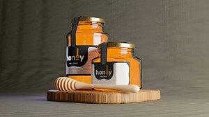 3D glass jar label honey