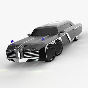 3D model President new limousine Cyperpunk 6x6 concept design