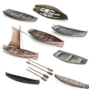 3D boat wood wooden