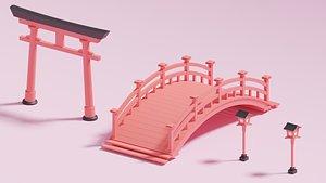 3D bridge street lamp torii model