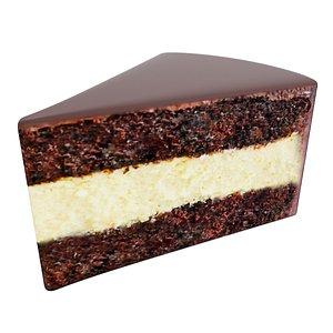 3D Chocolate cake piece