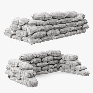 3D Sandbag Barricade White Dirty model