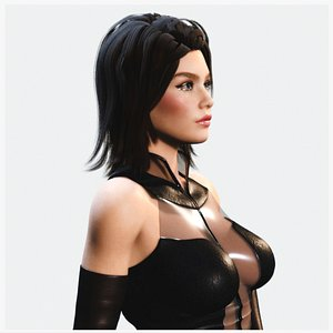 3D Rigged Stylish Woman in Leather Outfit PBR model