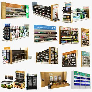 3D model Mega Pet Shop Shelves Collection