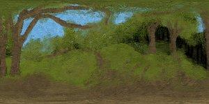 3D panoramasky360 VR HDRI Panoramic Skybox equirectangular handpainted forest
