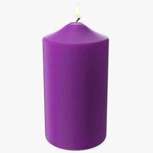 Lit Dome Top Pillar Candle Purple model