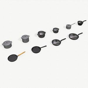Kitchen Pots and Pans 3D model