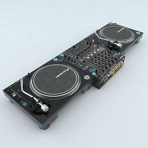 Professional DJ Turntable Pioneer PLX 1000 and  Mixer Pioneer -900NXS2 3D model