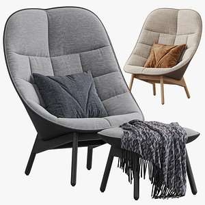 HAY Uchiwa Lounge Quilted armchair 3D model