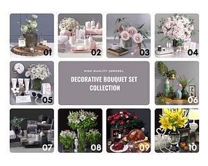 3D decorative bouquet set flowers