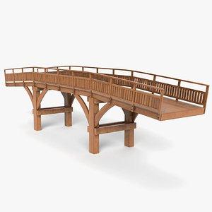 3D wooden road bridge model