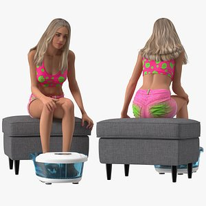 Young Woman with MaxKare Spa Foot Bath Massager Rigged for Maya 3D