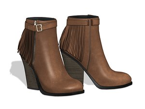Leather Ankle Mid Heel Boots