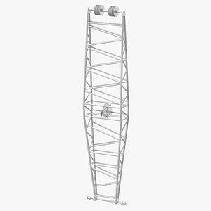 3D crane jib mast white model