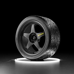 3D Yokohama ADVAN NEOVA AD08R tire with Spoon SW388 rim