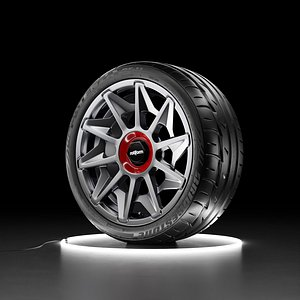 3D model Car wheel Bridgestone Potenza RE11 tire with Rotiform CVT rim