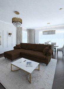 Amazing classic style living room 3D model