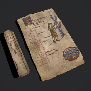 February Manuscript Scroll and Page model