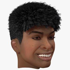 Black Teenager Smiling Head 3D model