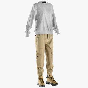 pants pullover boots 3D model
