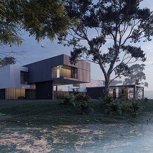3D modern beach villa