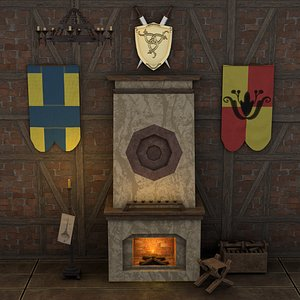 3D middle medieval fireplace props