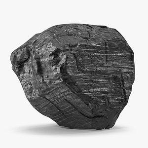 3D Black Coal Rock