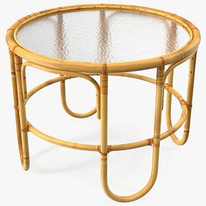 3D Vintage Round Bamboo Coffee Table