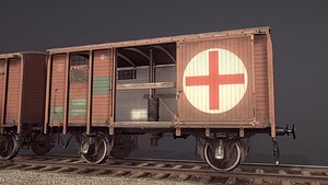 3D model railway covered goods wagon