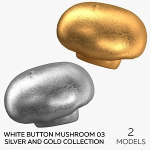 White Button Mushroom 03 Silver and Gold Collection - 2 models 3D model