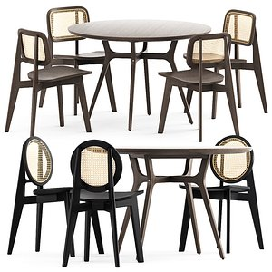 3D Cane chair-01 and chair-02 and Ren Dining Table C1100