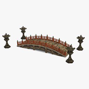 Beautiful ancient Asian wooden bridge 3D model