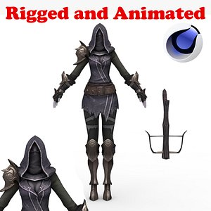 3D Demon Hunter Female Rigged and Animated model
