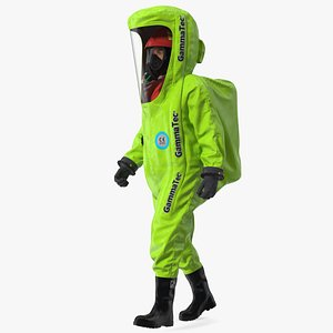 3D Heavy Duty Chemical Protective Suit Walking Pose Green