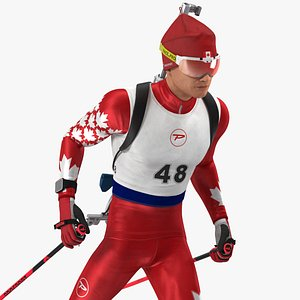 Biathlete Fully Equipped Canada Team Rigged for Cinema 4D 3D model