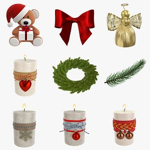 3D christmas wreath candle model