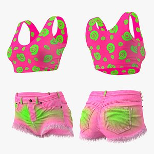3D Teenage Girl Top and Shorts