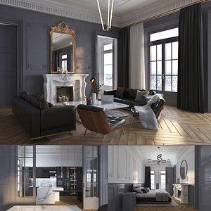 Parisian Studio Apartment Interior 3D