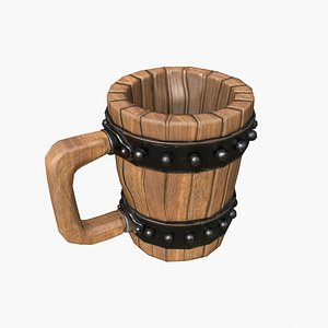 cup wood wooden 3D