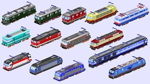 3D collection of 14 electric locomotives
