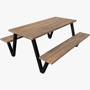 3D Picnic Table v5 with Pbr 4K 8K model