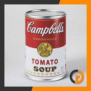 campbell tomato soup canned 3d model