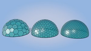 3D geodesic domes architecture model