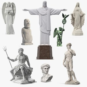Stone Statues Collection 7 3D model