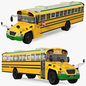 3D Electric Blue Bird Vision School Bus