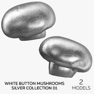 3D White Button Mushrooms Silver Collection 01  - 2 models