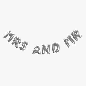 Foil Balloon Words Mrs and Mr Silver 3D