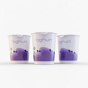 3D model Yogurt 400ml Plastic Cup 3D Model