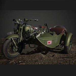 motorcycle ww2 3D model